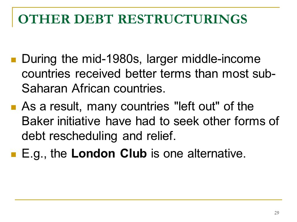 OTHER DEBT RESTRUCTURINGS