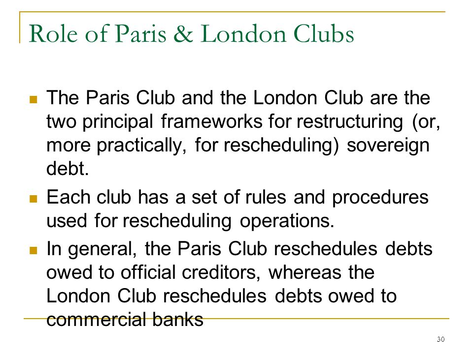 Role of Paris & London Clubs