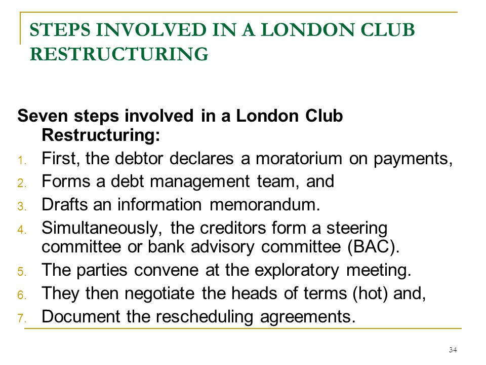 STEPS INVOLVED IN A LONDON CLUB RESTRUCTURING