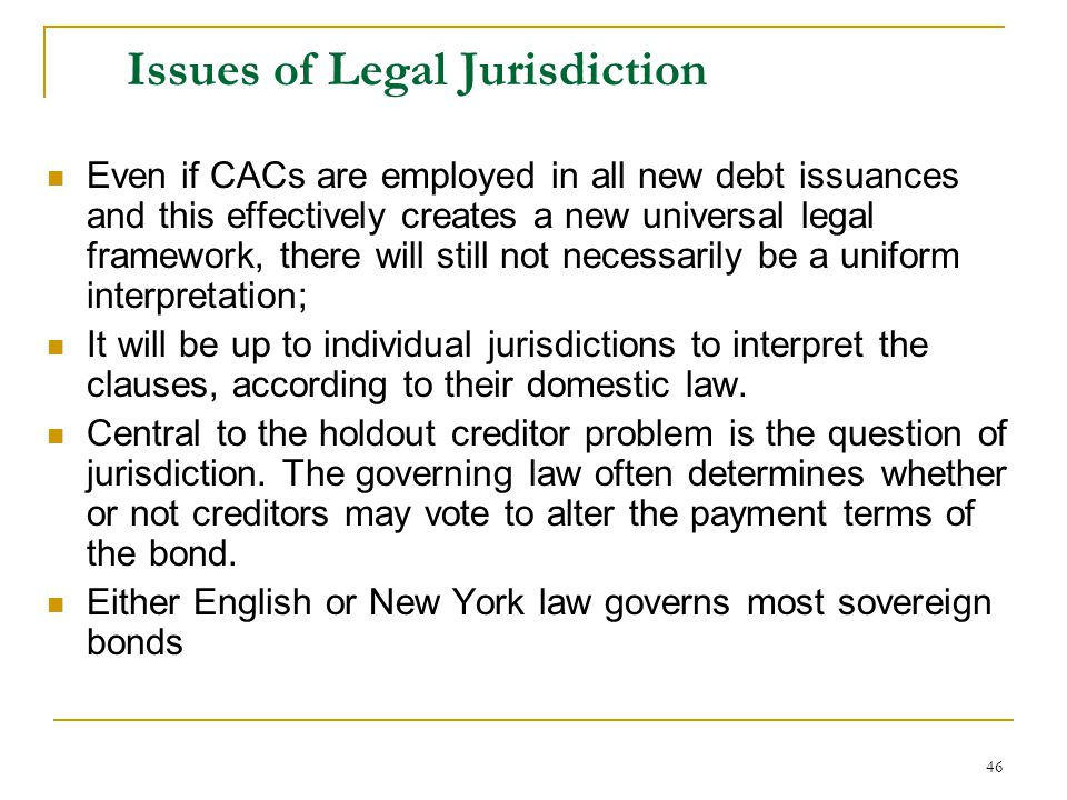 Issues of Legal Jurisdiction