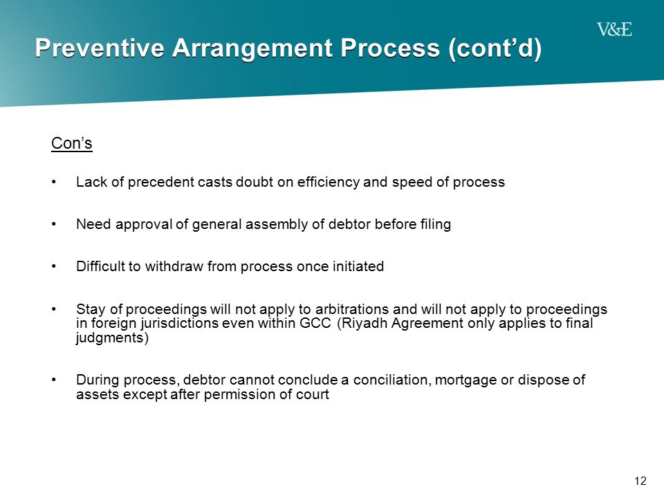 Preventive Arrangement Process (cont'd)