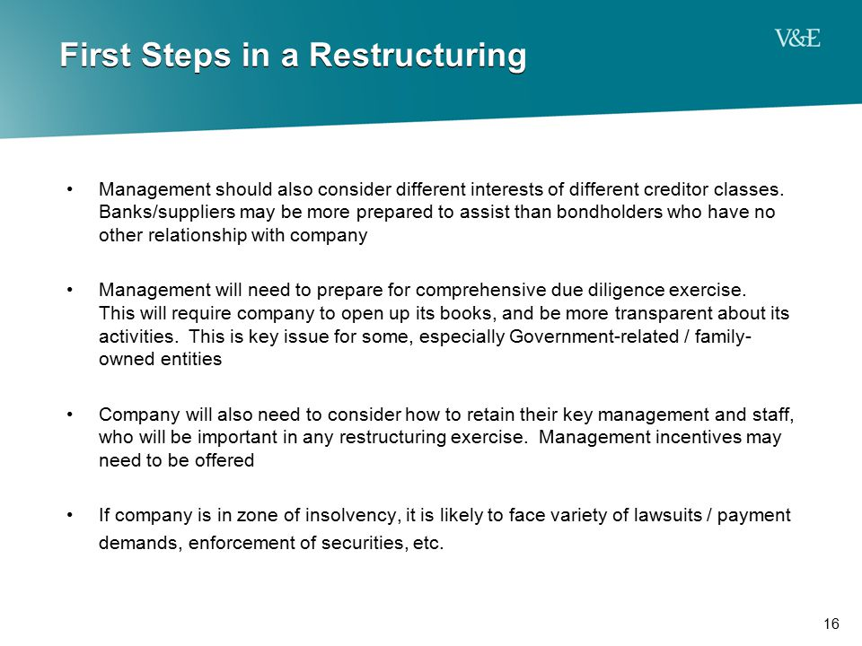 First Steps in a Restructuring