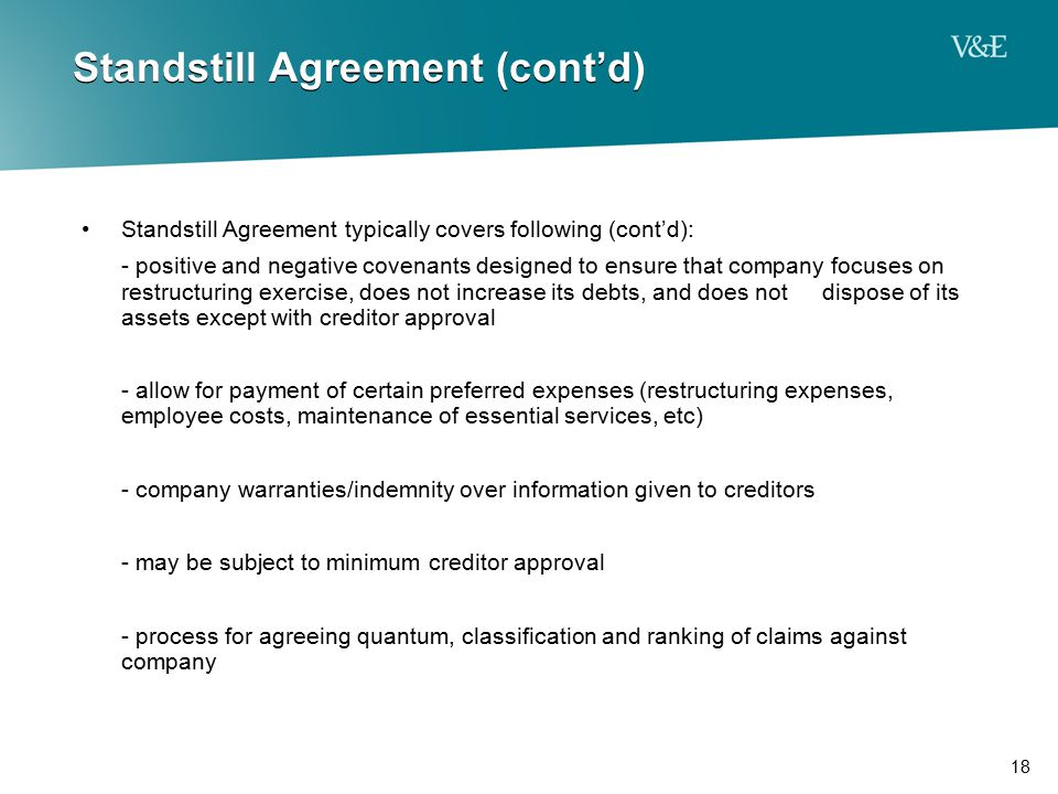 Standstill Agreement (cont'd)