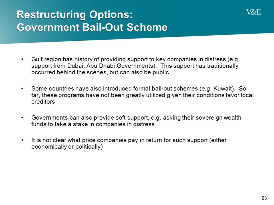 Restructuring Options: Government Bail-Out Scheme