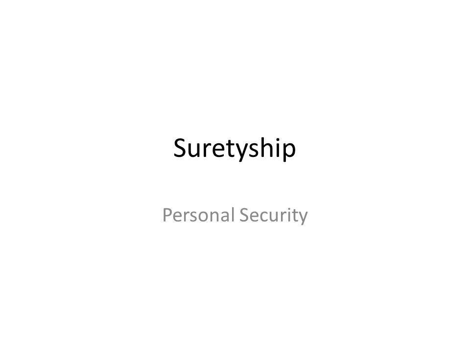 Suretyship Personal Security