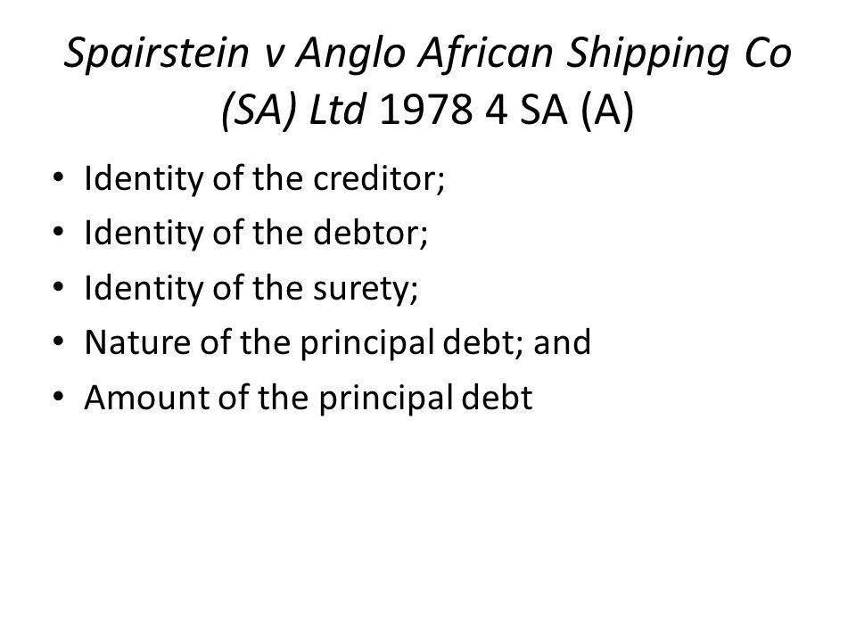Spairstein v Anglo African Shipping Co (SA) Ltd 1978 4 SA (A)