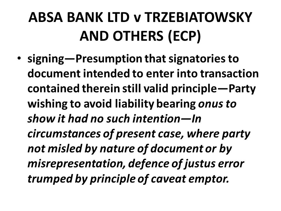 ABSA BANK LTD v TRZEBIATOWSKY AND OTHERS (ECP)