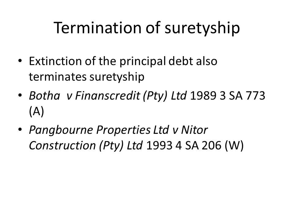 Termination of suretyship