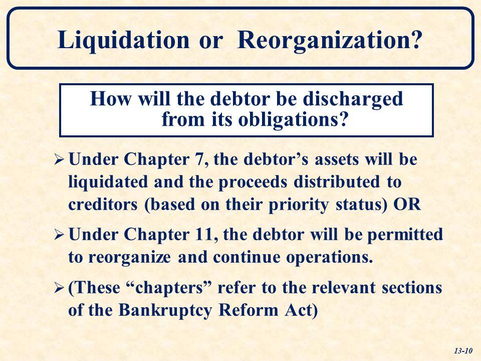 Liquidation or Reorganization