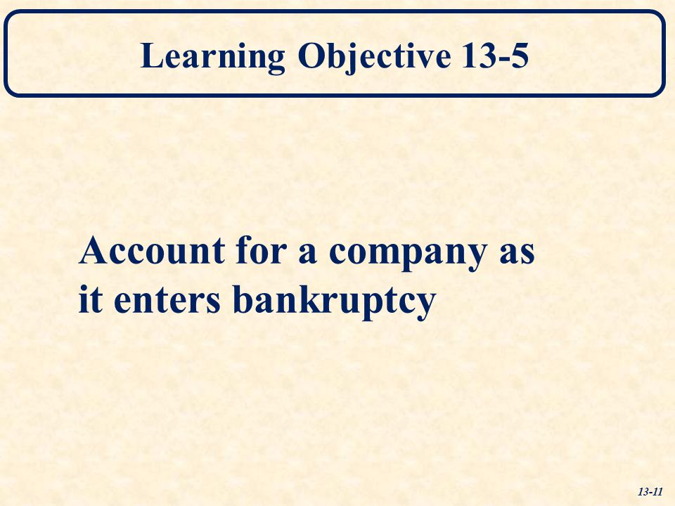 Account for a company as it enters bankruptcy
