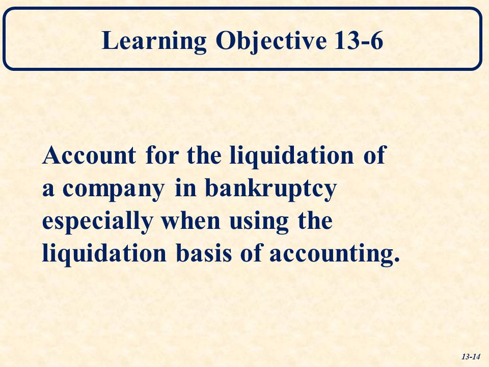Account for the liquidation of