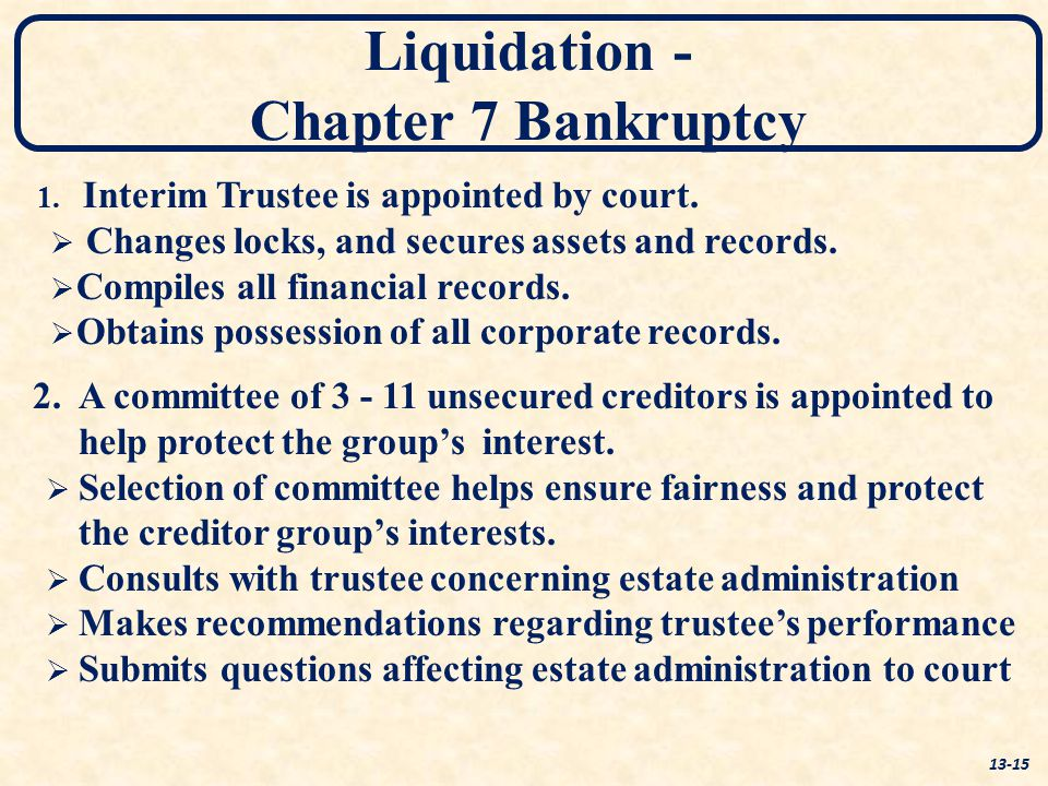 Liquidation - Chapter 7 Bankruptcy