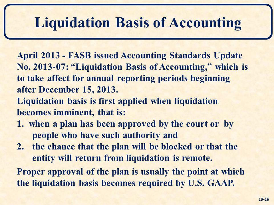 Liquidation Basis of Accounting