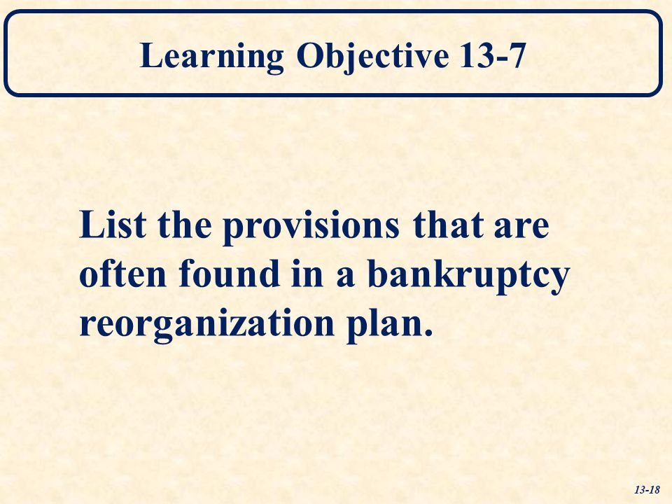 List the provisions that are often found in a bankruptcy