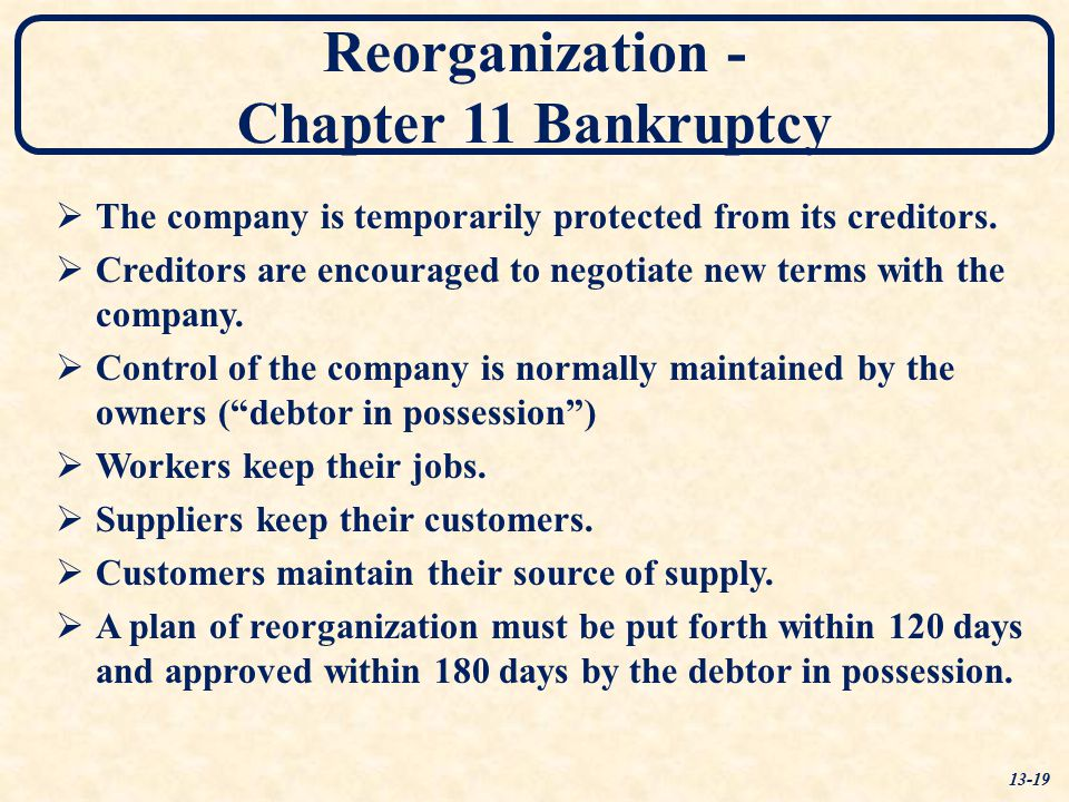 Reorganization - Chapter 11 Bankruptcy