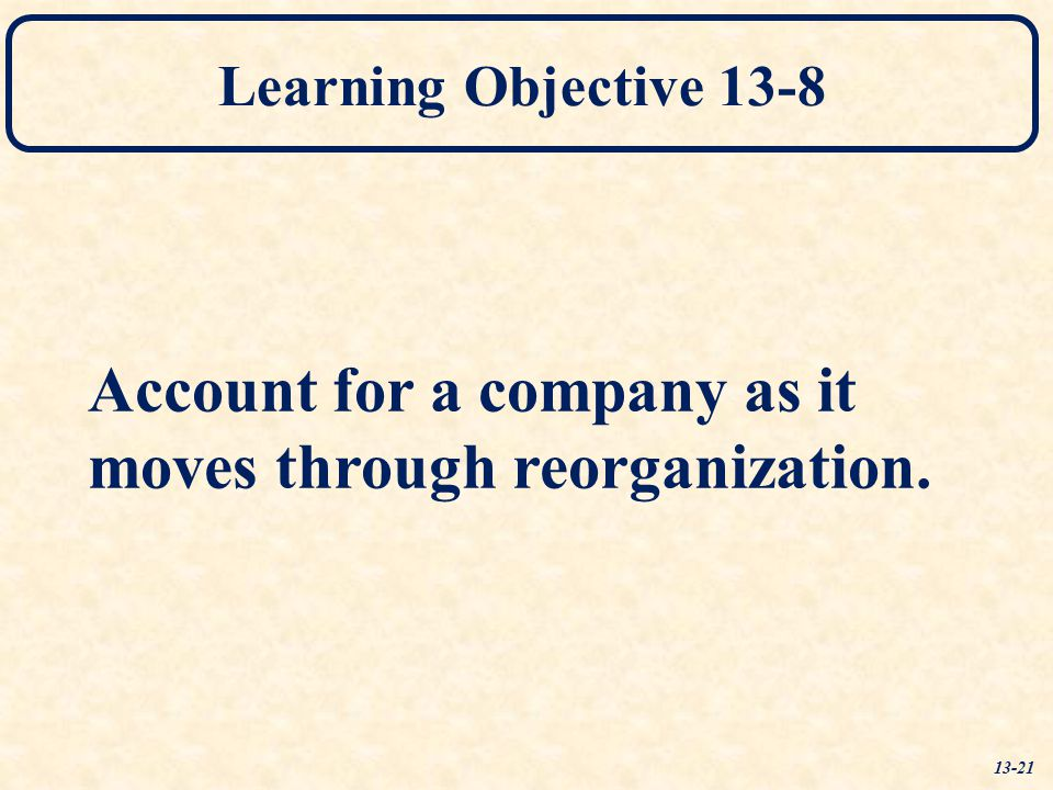 Account for a company as it moves through reorganization.