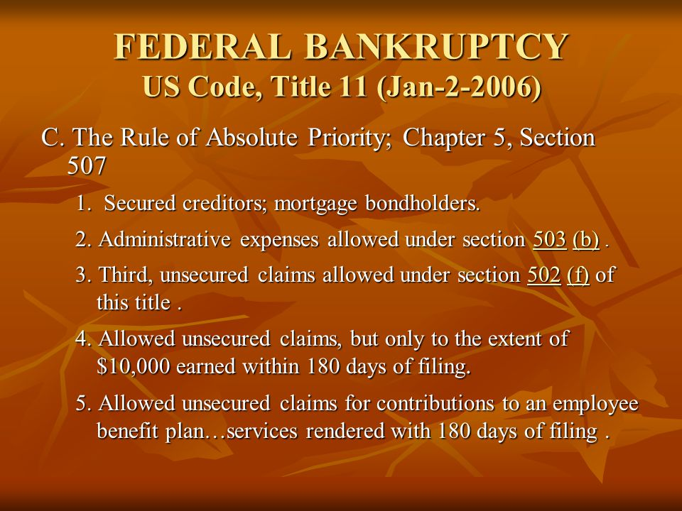 FEDERAL BANKRUPTCY US Code, Title 11 (Jan-2-2006)