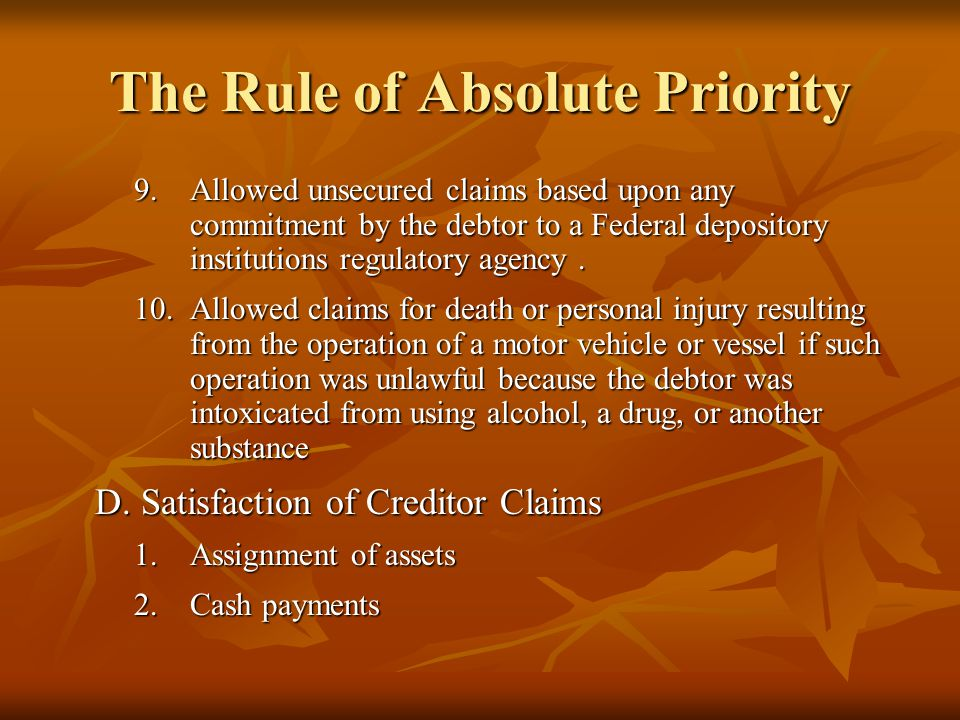 The Rule of Absolute Priority