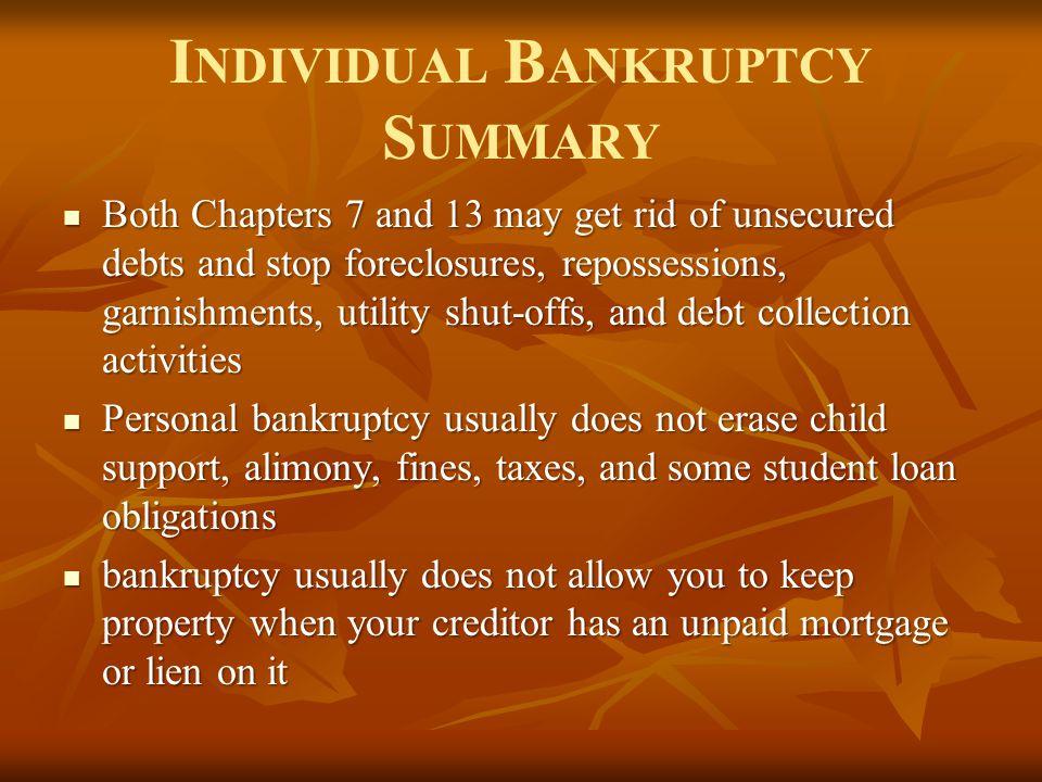 Individual Bankruptcy Summary
