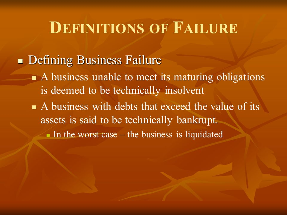 Definitions of Failure