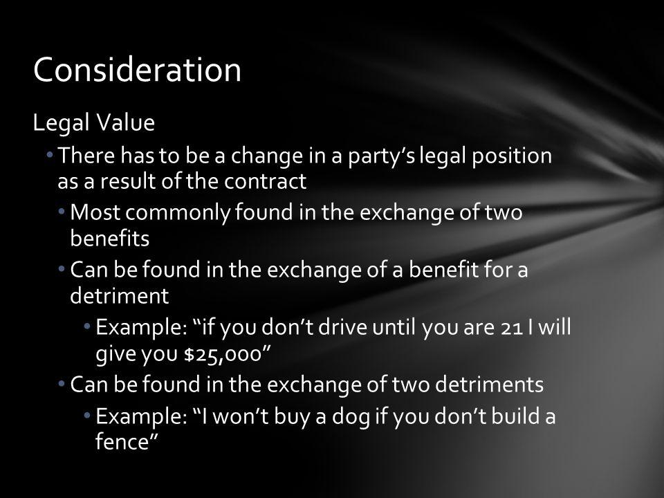 Consideration Legal Value
