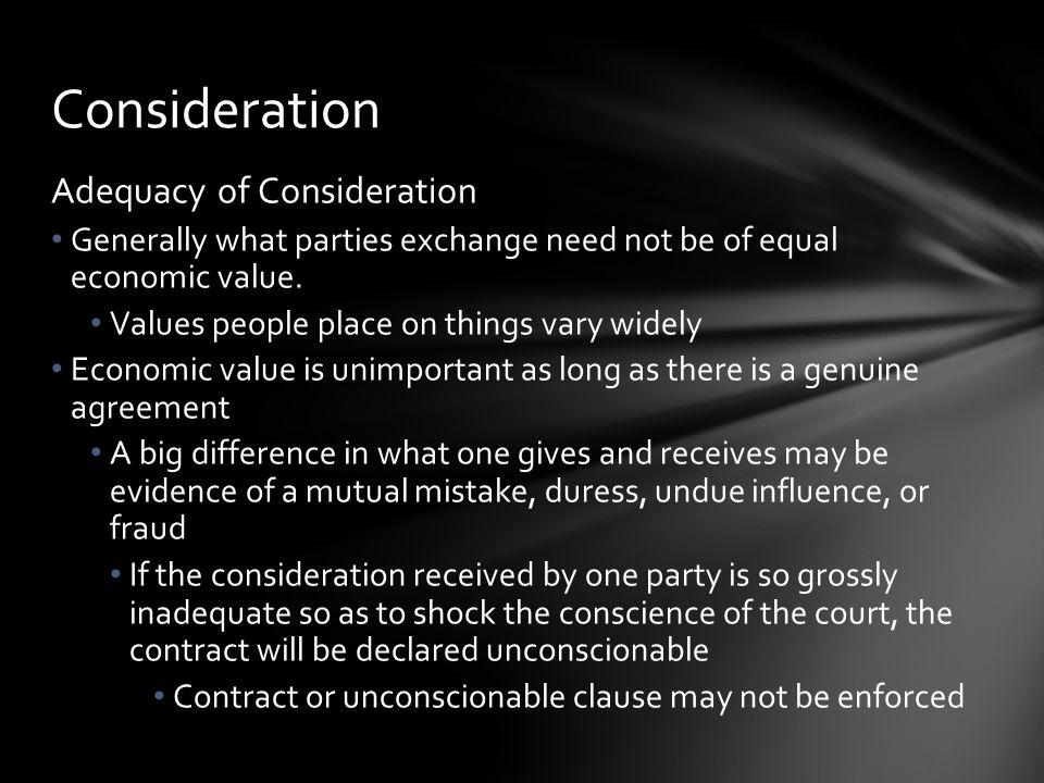 Consideration Adequacy of Consideration