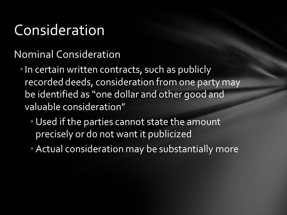 Consideration Nominal Consideration