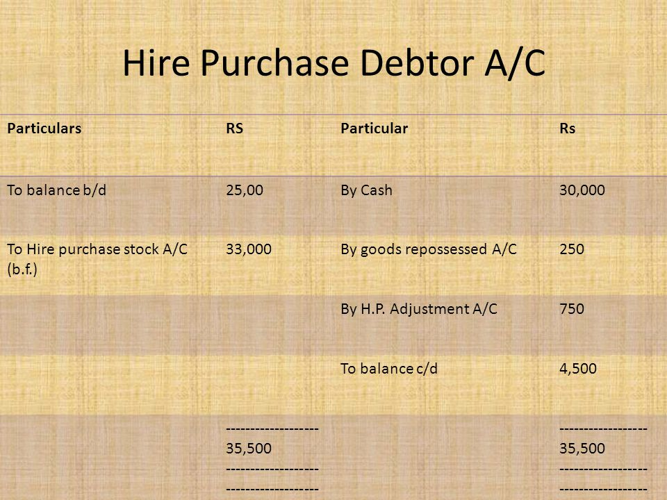 Hire Purchase Debtor A/C
