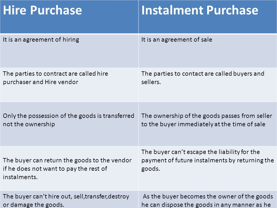 Hire Purchase Instalment Purchase It is an agreement of hiring