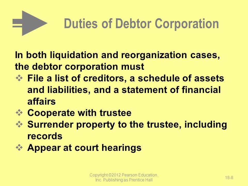Duties of Debtor Corporation