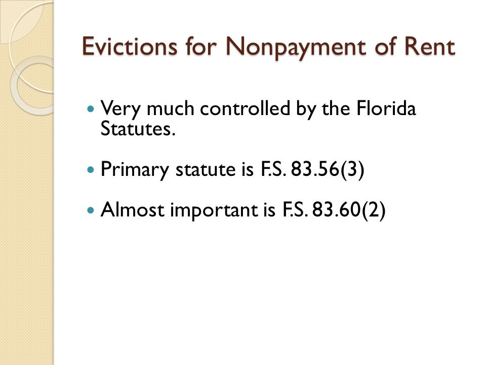 Evictions for Nonpayment of Rent