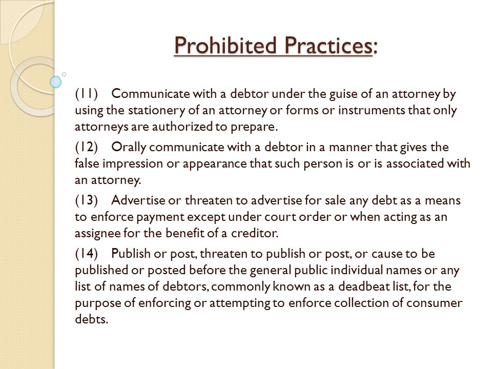 Prohibited Practices: