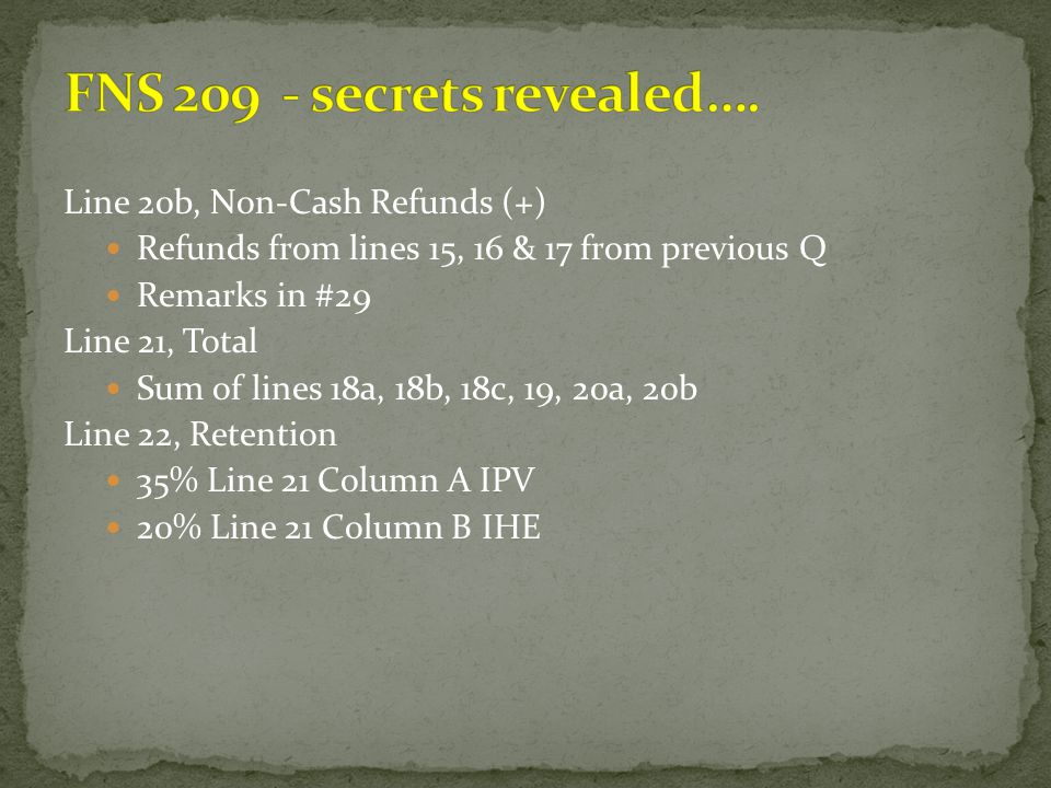 FNS 209 - secrets revealed….
