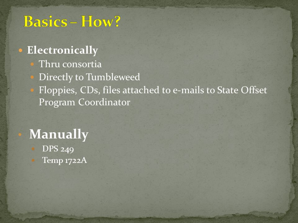 Basics – How Manually Electronically Thru consortia