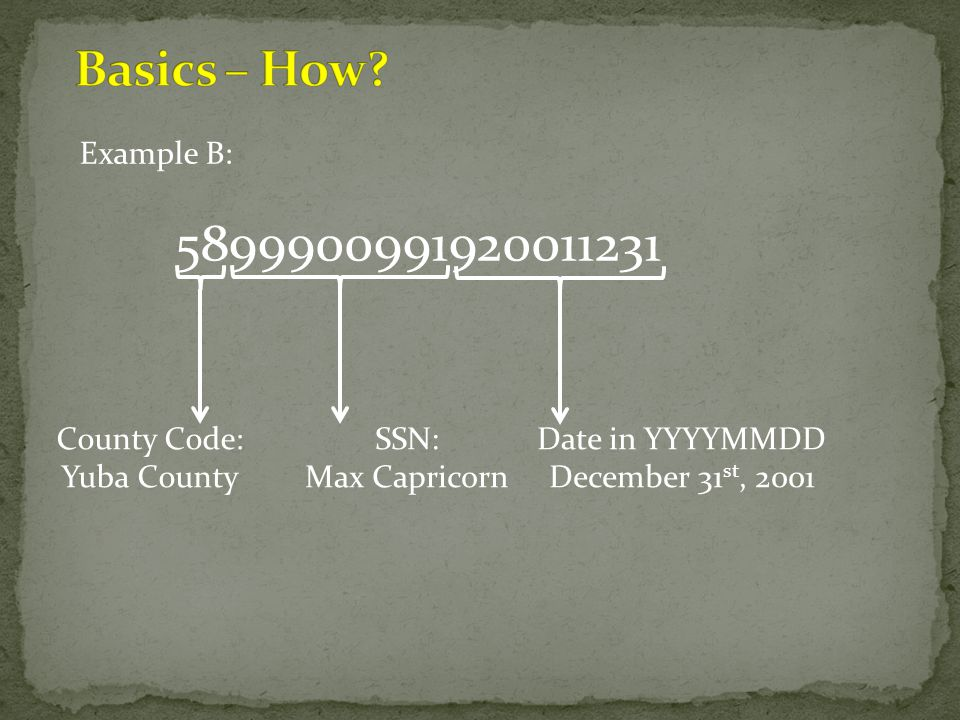 5899900991920011231 Basics – How Example B: County Code: Yuba County