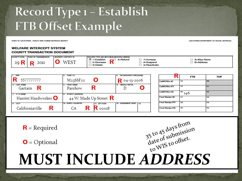Record Type 1 – Establish FTB Offset Example