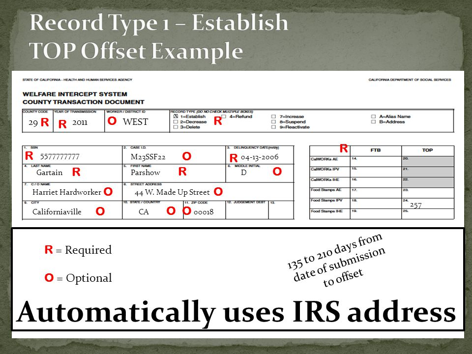 Record Type 1 – Establish TOP Offset Example