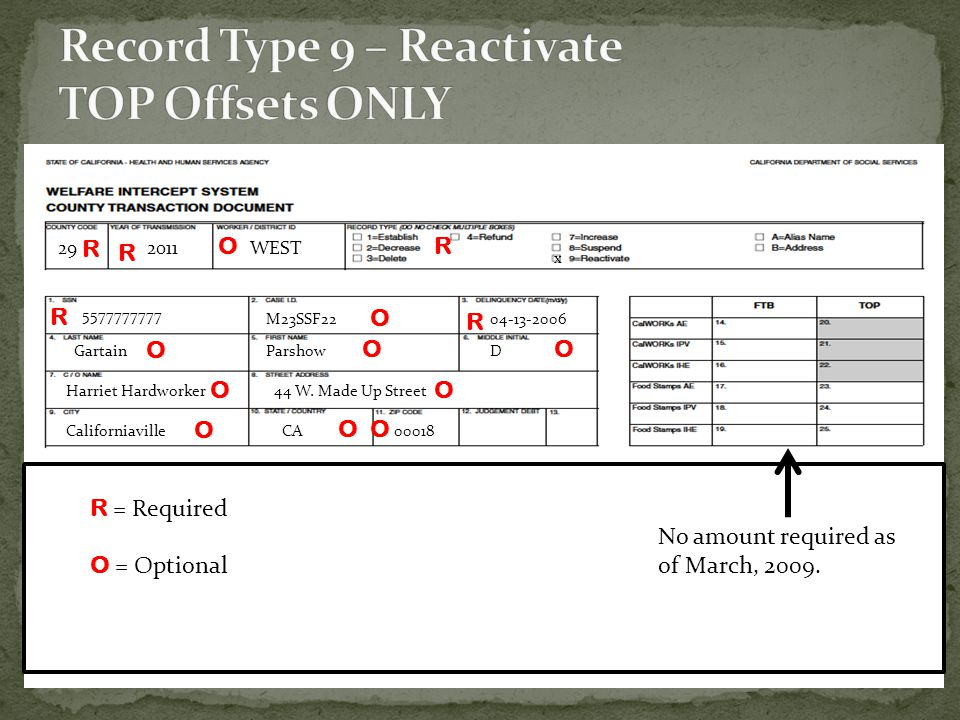 Record Type 9 – Reactivate TOP Offsets ONLY