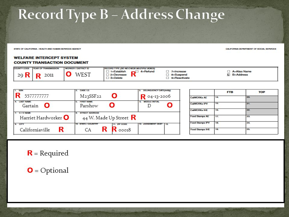 Record Type B – Address Change