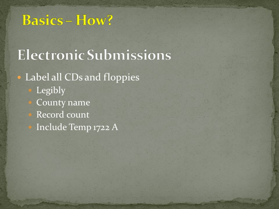 Electronic Submissions