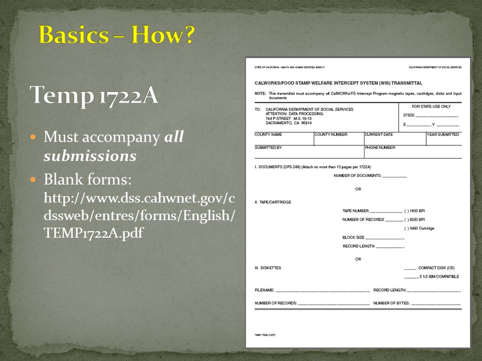 Basics – How Temp 1722A Must accompany all submissions