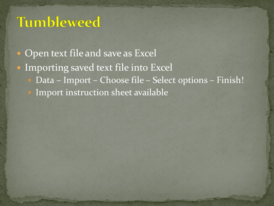 Tumbleweed Open text file and save as Excel