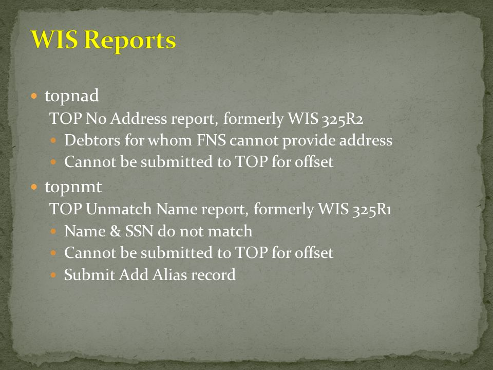 WIS Reports topnad topnmt TOP No Address report, formerly WIS 325R2