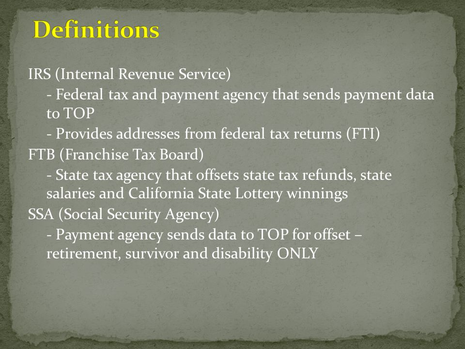 Definitions IRS (Internal Revenue Service)