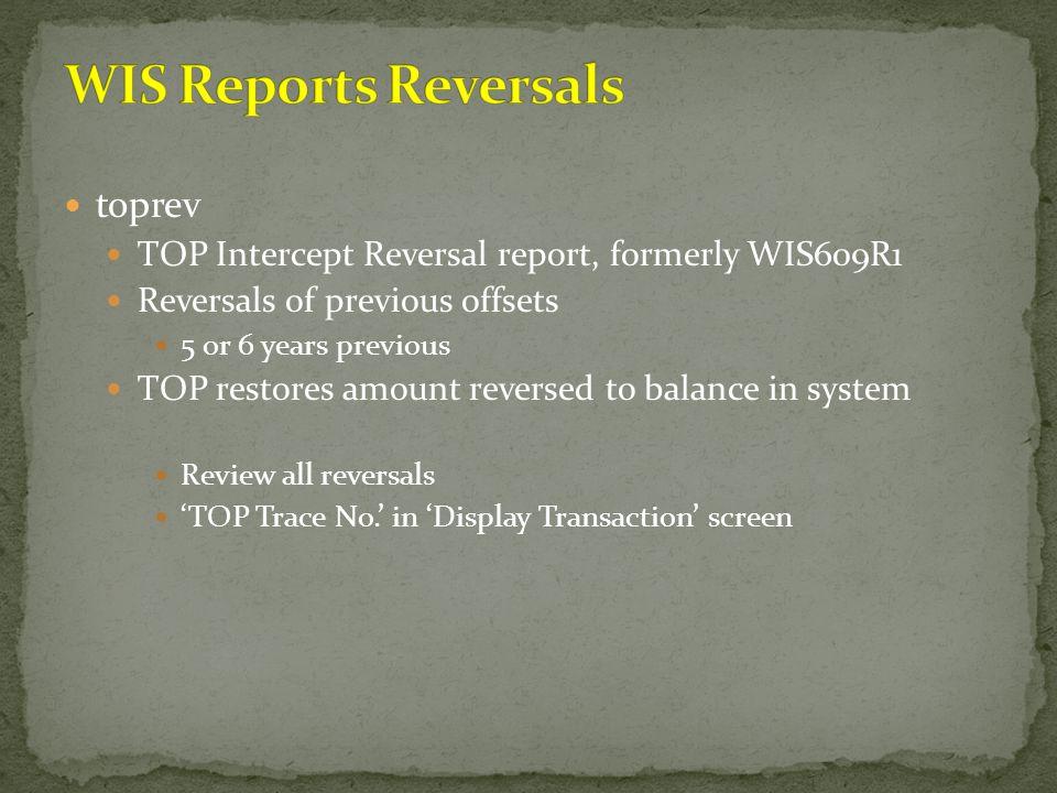 WIS Reports Reversals toprev