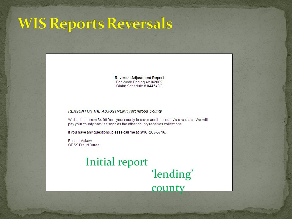 WIS Reports Reversals Initial report 'lending' county