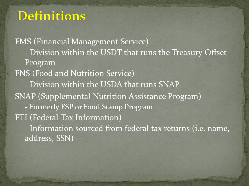 Definitions FMS (Financial Management Service)