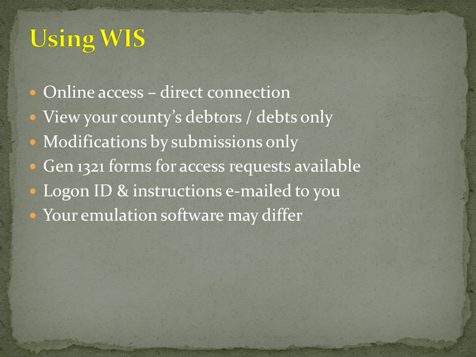 Using WIS Online access – direct connection