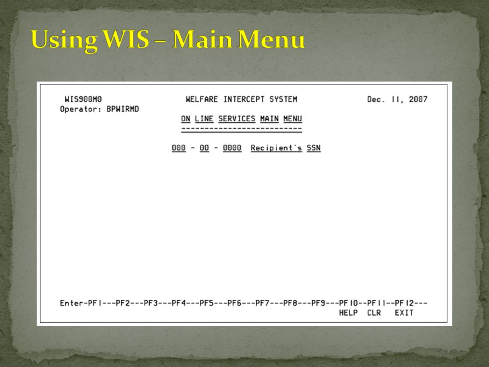 Using WIS – Main Menu