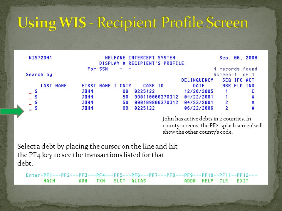Using WIS - Recipient Profile Screen